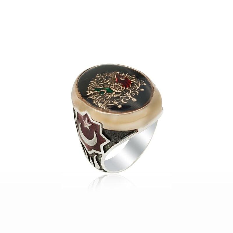 925 Silver OttomanRing Moon Star Ring Kayi Rings for Man Kayi Obasi Flag Ottoman Empire Mens Ottomans Seal Ertugrul Men anillo