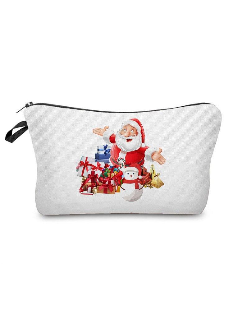 Santa Claus Tree Printed Cosmetic Bags Casual Women Makeup Bag Mini Clutch Phone Bag Portable Travel
