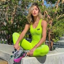 KLALIEN casual sport fitness Mujer jumpsuit 2020 verano sin mangas alto ceñido traje elástico playsuit mujeres ropa para correr bodysuit