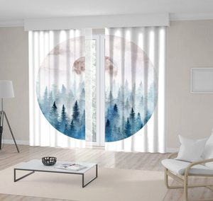Curtain Landscape in A Circle with Foggy Forest and Rising Moon Watercolor Artwork Blue Beige White