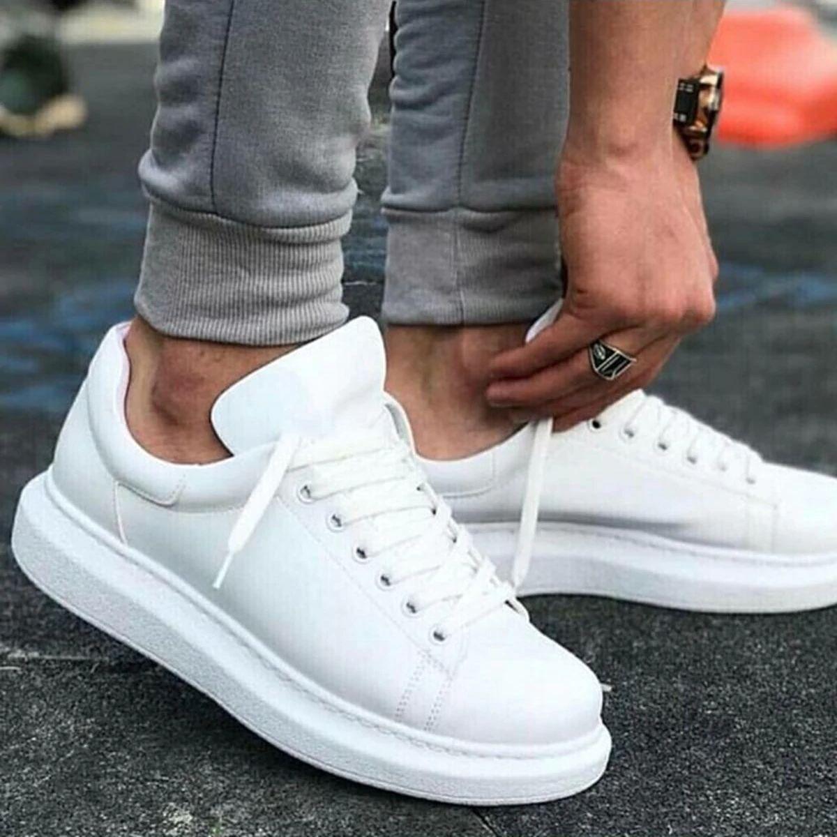 حذاء رياضي من الجلد للرجال بنعل عالٍ ، حذاء رياضي أبيض بنعل عالٍ ، 100 فيجن ، موضة جديدة ، جودة عالية