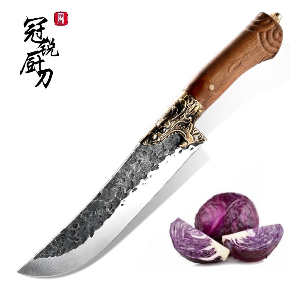 سكين مطبخ صيني ذبح جزار الشيف أداة الطبخ اليد مزورة مطروق شفرة Pchak اللحوم الأسماك الخضار تقطيع الأدوات