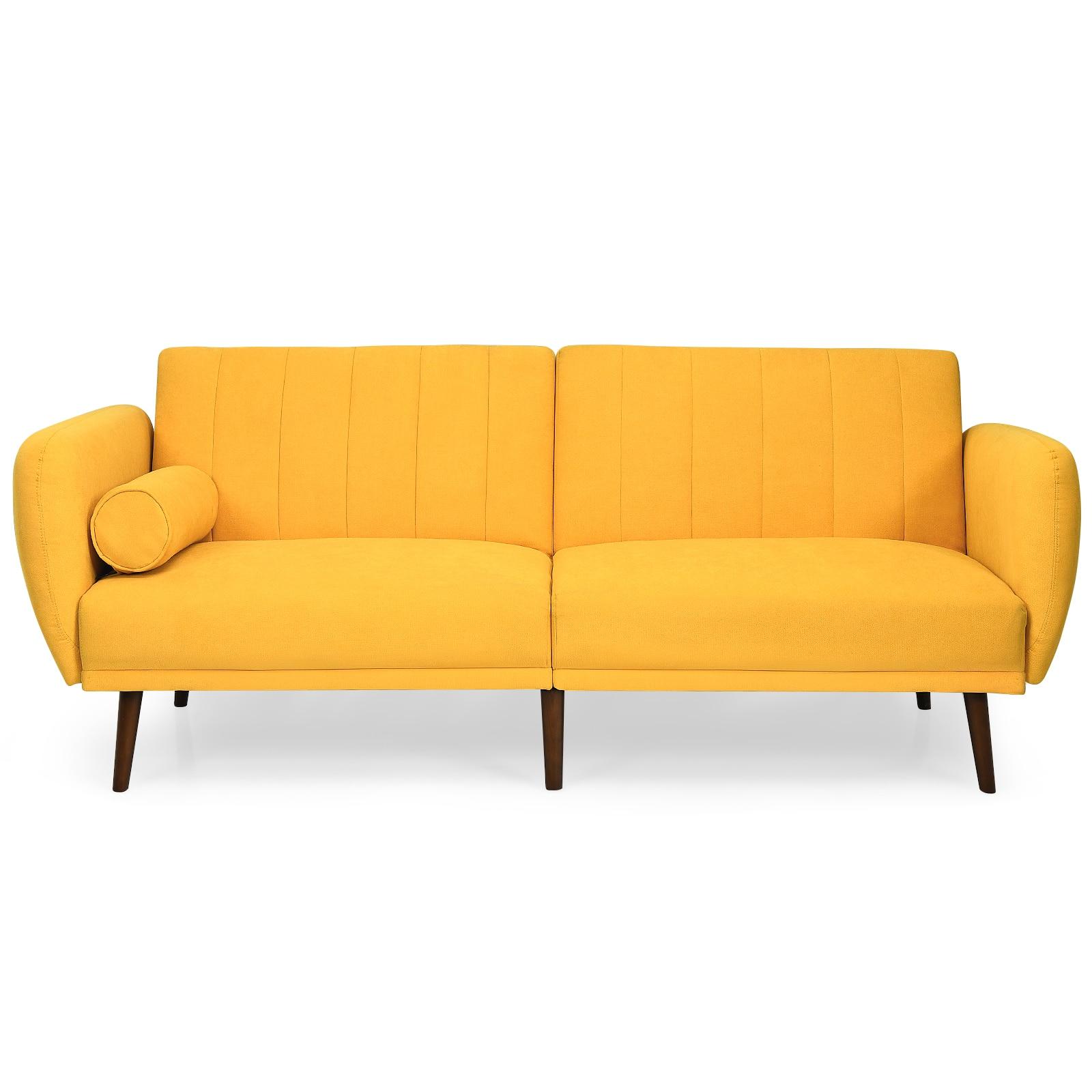 Giantex للتحويل فوتون أريكة سرير قابل للتعديل الأريكة النائم ث/الساقين الخشبية HW66380