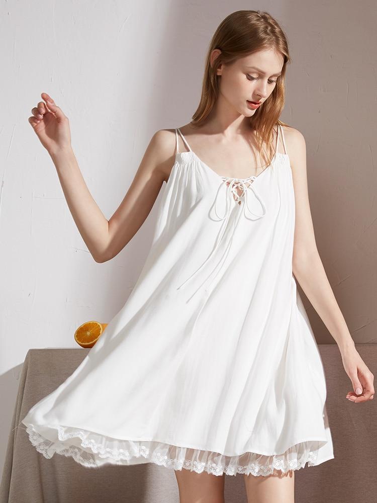 قميص نوم نسائي مثير بفتحة رقبة على شكل حرف V, قميص نوم نسائي بطبعة الأميرة بدون أكمام وظهر عاري مناسب للنوم