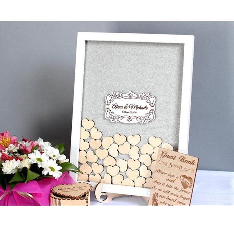 Personalizar Nombre Fecha caja de sombra corazón Libro de Visitas ideas caja de gota alternativa de madera libro de invitados de boda marco signo en regalo de matrimonio