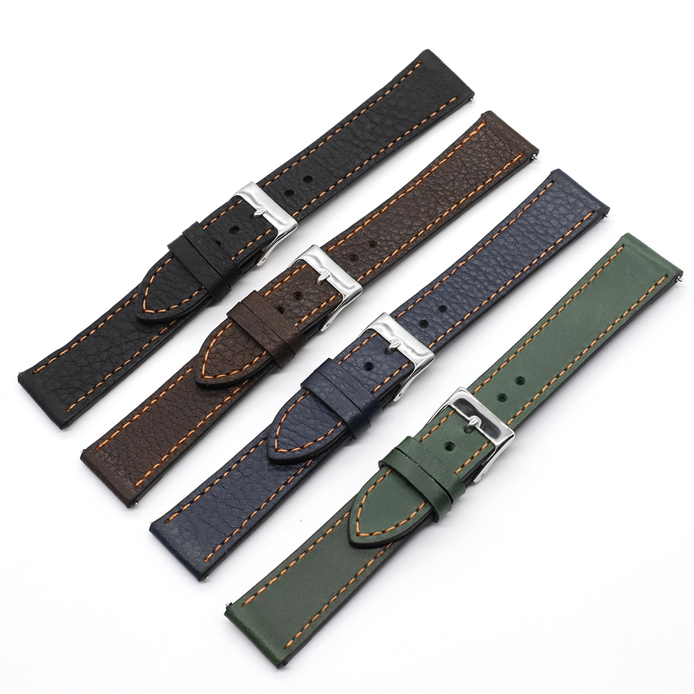 Onthelevel Soft Leather Watch Strap 18mm 19mm 20mm 22mm Band Handmade Retro Watchband Quick Release Spring Bar #D