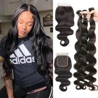 body wave brazilian 3 4 bundles with closure human hair weave bundles remy 4x4 lace short long for black women hair extensions