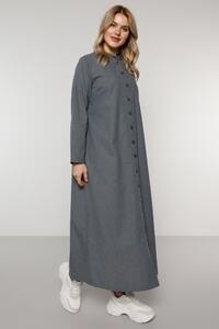 Женское платье на пуговицах, серого цвета, модель 44-54 размера плюс 2021
