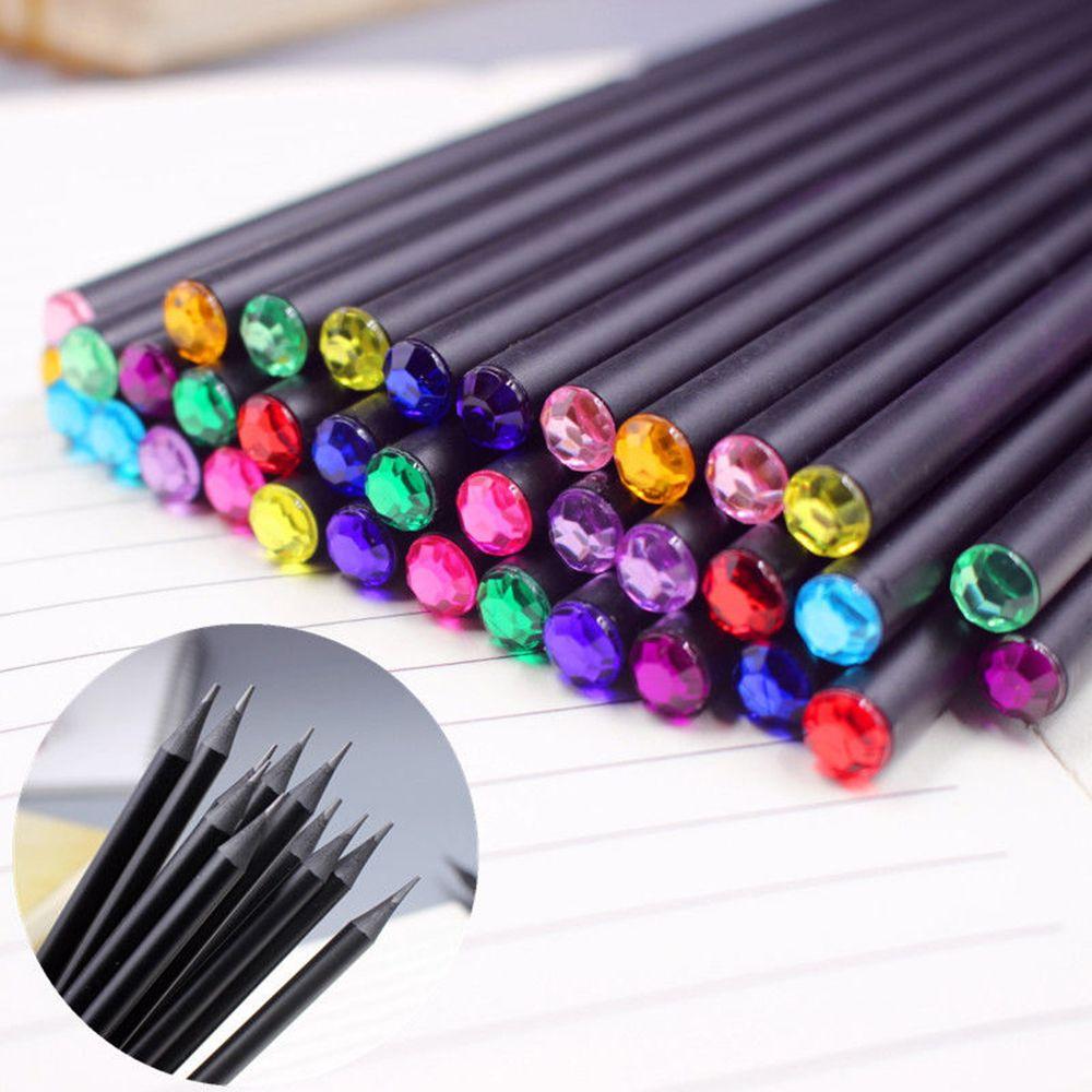 12 Uds lápiz de plomo negro de Color diamante papelería de dibujo material escolar Oficina suministros lápiz para escribir regalo