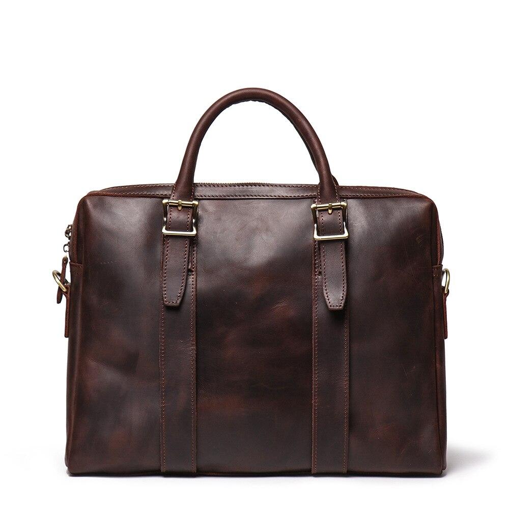 النمط الصيني الرجال جلد طبيعي مكتب حقيبة أعمال 15.6