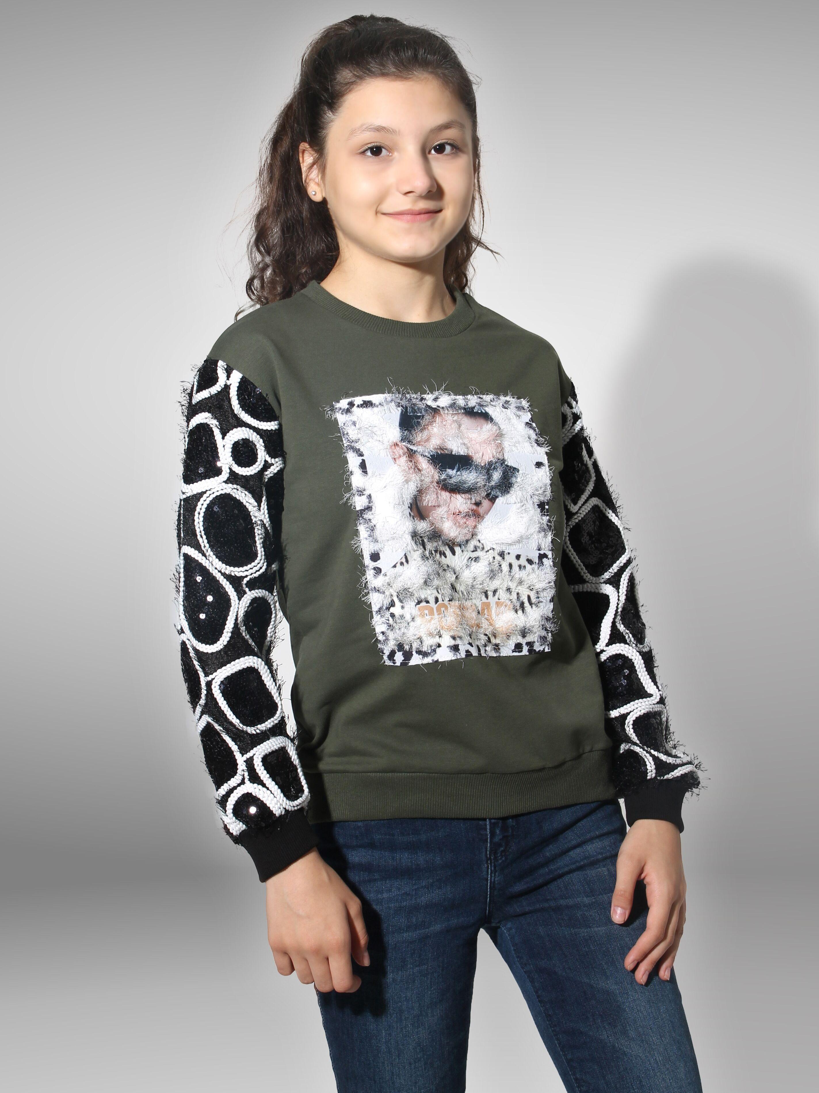 Lizmosse-كنزة مطرزة للأطفال والفتيات ، تصميم هندسي وشعر ، سترة مع ياقة دراجة ، لون مسحوق بورجوندي أزرق داكن ، صنع في تركيا 9 10 11 12 13 سنة
