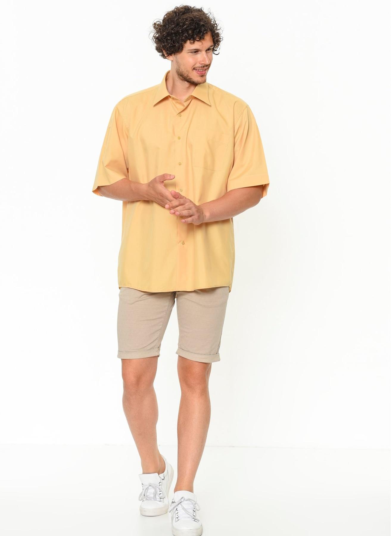 Plus Size Varetta men's shirt Casual Shirt Short Sleeve shirts for men Solid Yellow man shirts Big Size shirts for men Turkey