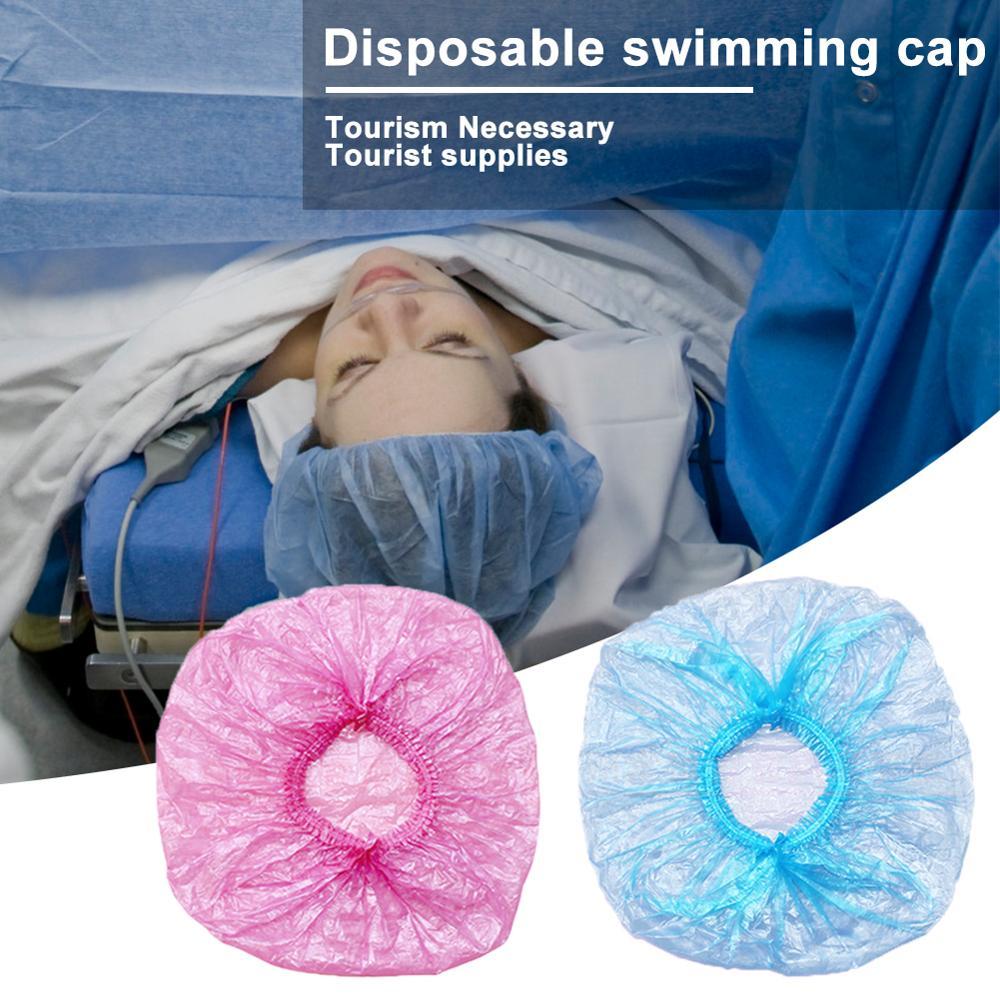 100Pcs/Lot Disposable Hat Shower Cap Hotel One-Off Elastic Shower Bathing Cap Clear Hair Salon Bathroom Product