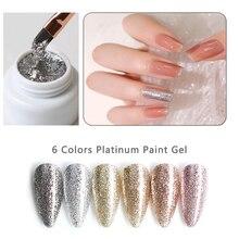 2pcs/Sets 5ml Shining Platinum Paint Nail Gel Lacquer Glitter UV/LED Gel Nail Polish Top Base Primer