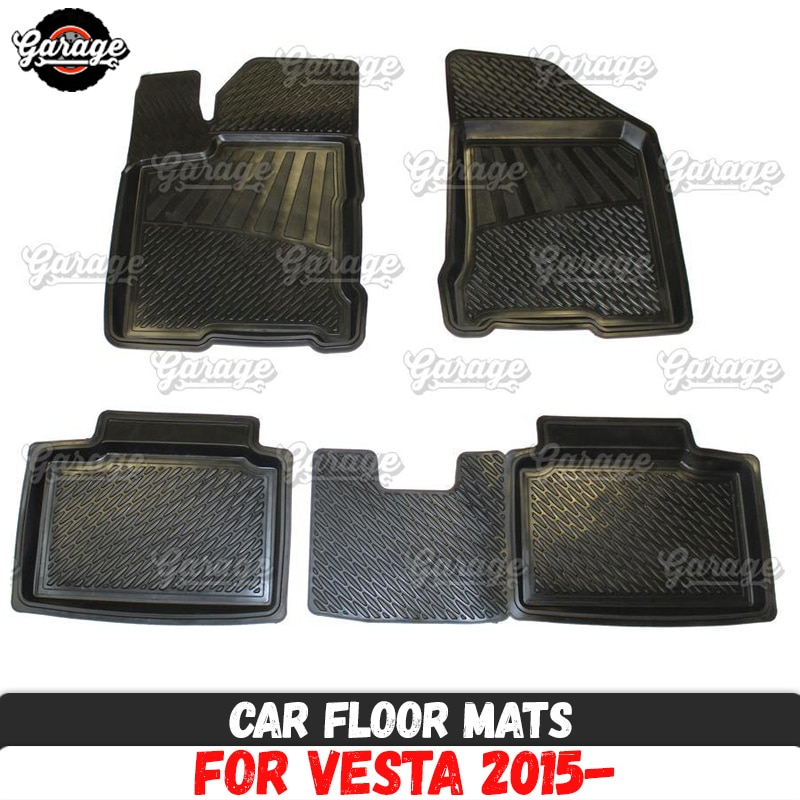 Esteiras do assoalho carro para lada vesta 2015-borracha 1 conjunto/4 pçs ou 2 pçs acessórios proteger do tapete estilo do carro decoração