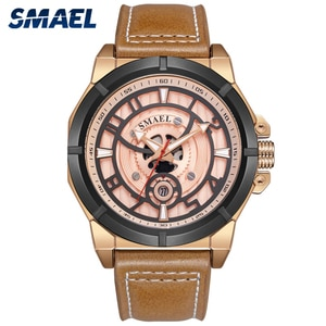 SMAEL Fashion Men's Quartz Watches Stereo Dial Face Waterproof 30M Leather Strap Creative Casual Wristwatches 9163
