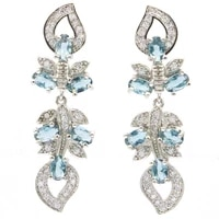 40x12mm gorgeous created london blue topaz white cz ladies daily wear silver earrings