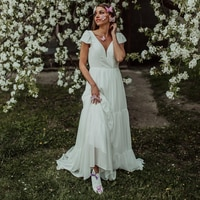 Bohemian Tiered Chiffon Wedding Gowns Deep V Neck Beach Short Sleeves Buttons Closure Short Train Open Back Wedding Ballgowns
