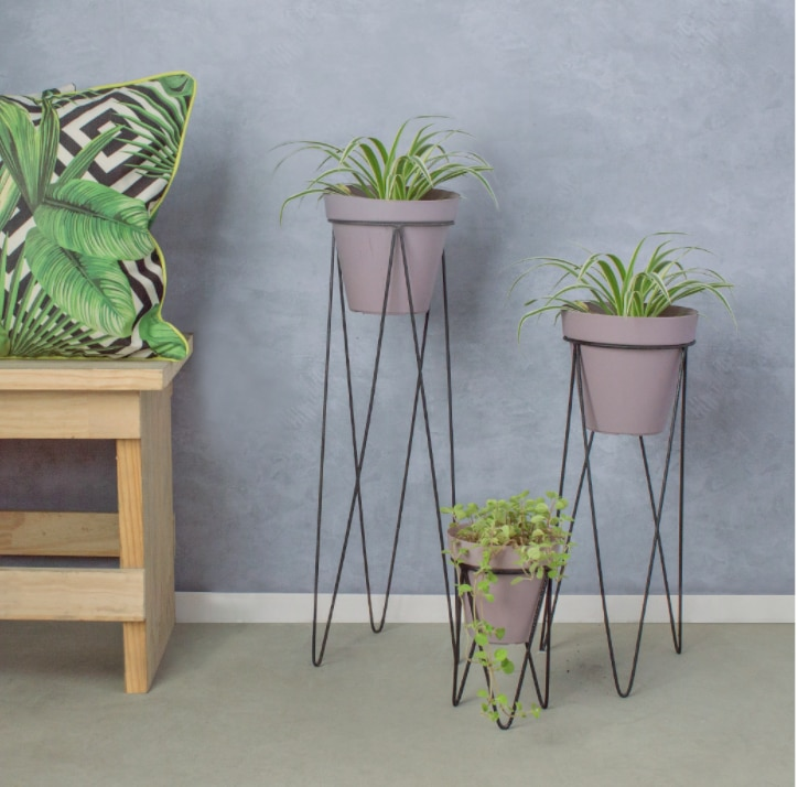 Metal Grid Wire Decorative 3 Piece Set Flower Pot Stand Flower Stand WD-255