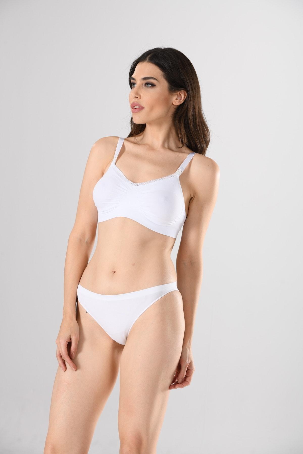 Women's V Neck Nursing Bra White Knitted Seamless Seamless Soft Basic enlarge
