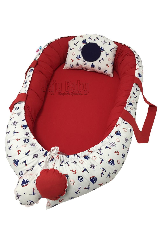 Jaju bebê 100x60 vermelho tampado ortopédico luxo babynest cama materna ninho do bebê
