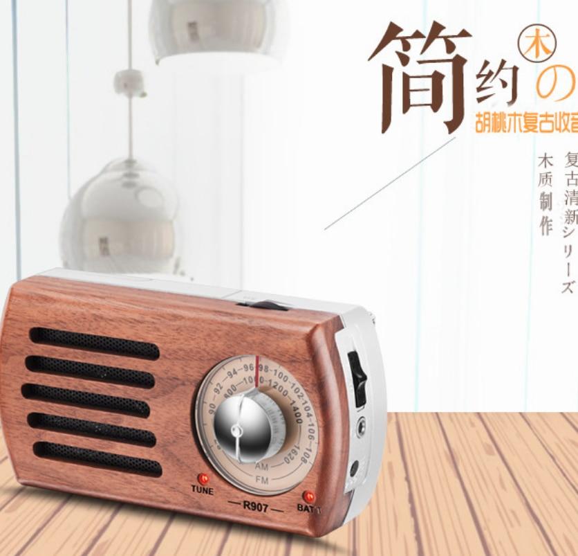FM AM Handmade Wooden Radio Portable Mini Retro Outdoor Radio Audio 3D Stereo Speaker enlarge