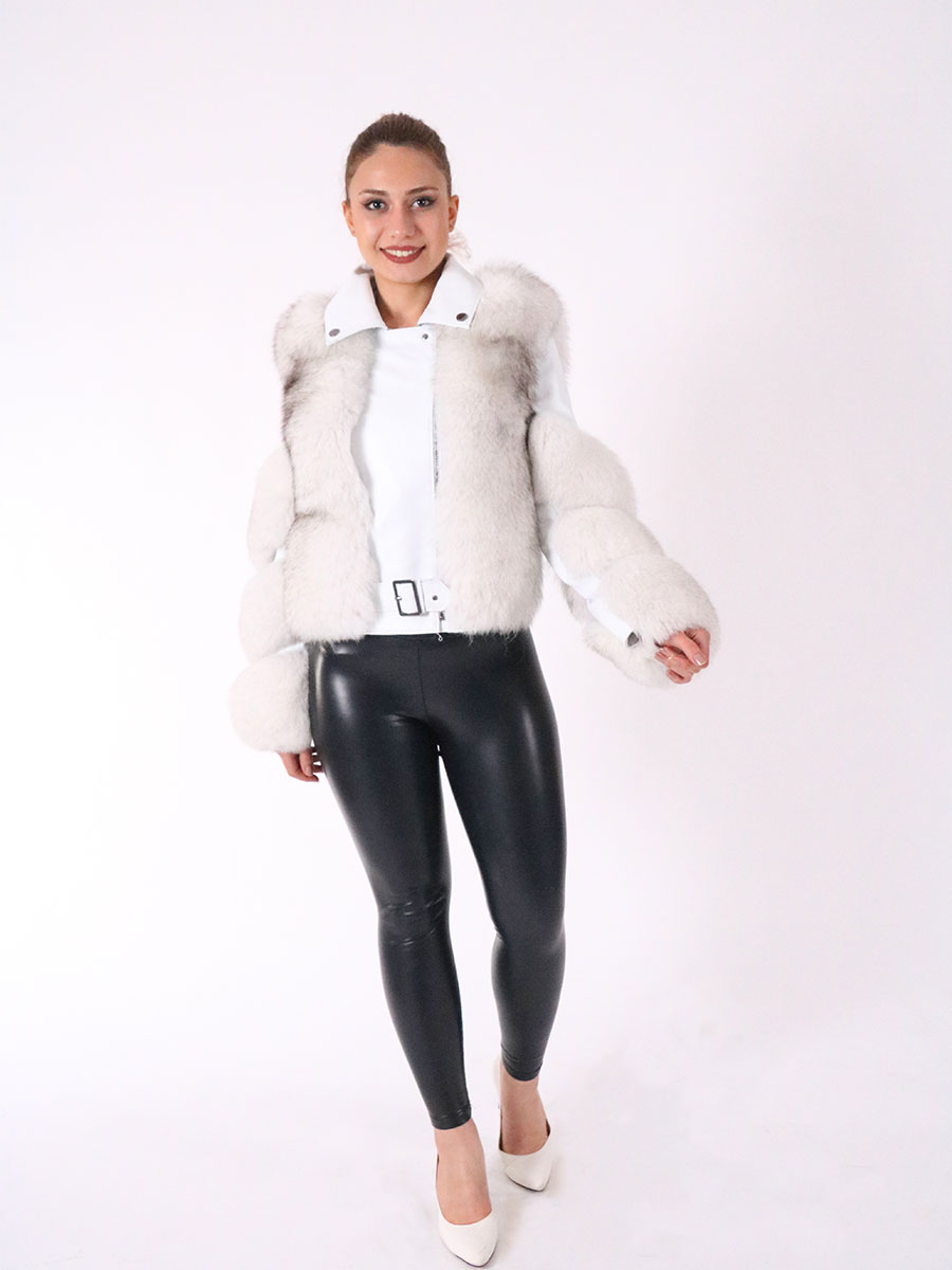 Fashion winter warm leather jacket natural fox fur real fox fur coat winter thick warm coat 2021 Turkish Moda