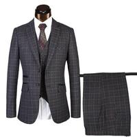 jacketsvestpants 2021 mens groom wedding dress black plaid formal suits set for men fashion business suit three piece