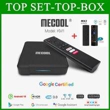 Mecool KM1 Google Сертифицированный Andriod 10,0, 4 ГБ, 64 ГБ, Amlogic S905X3 в приставка для ТВ двухъядерный процессор Wi Fi 4K голос Andriod приставка для ТВ smart box KM1