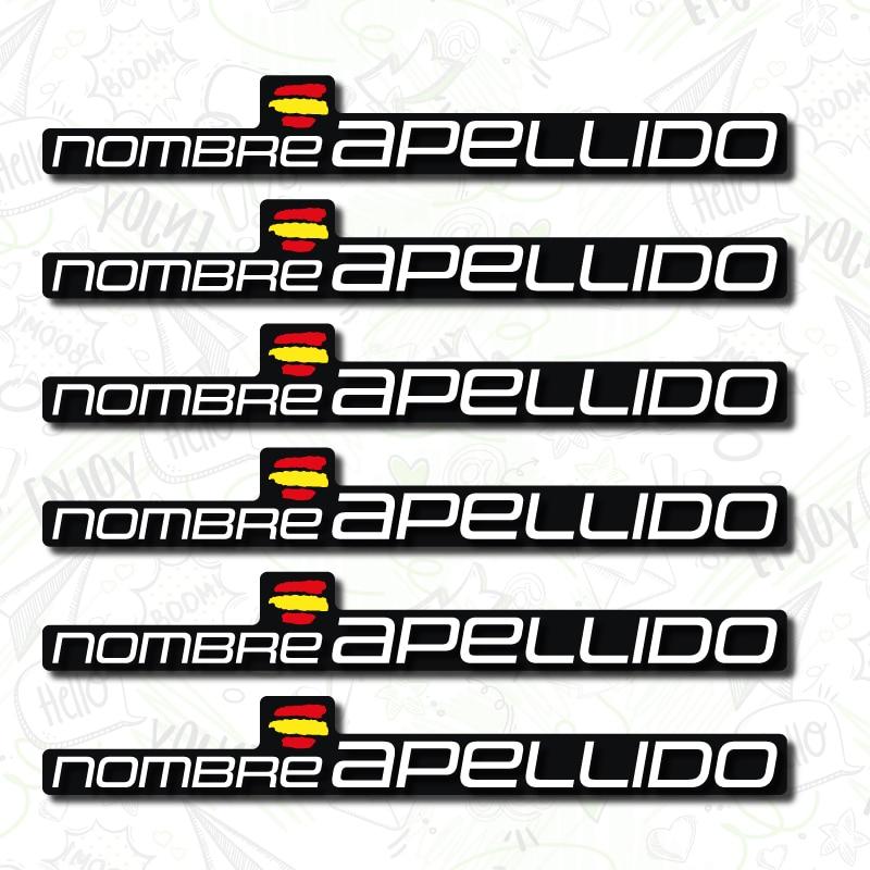 6X FLAG WITH CUSTOMIZABLE NAME BUMPER VINYL MTB HELMET MOUNTAIN BIKE BICYCLE STICKER NAME And FAMILY NAME LAMINATED