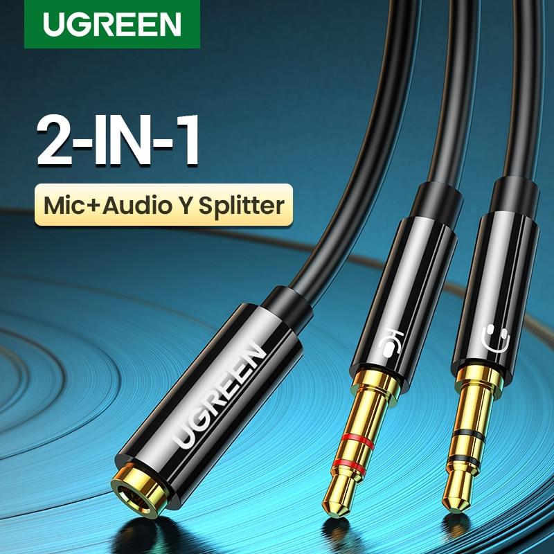 Ugreen-separador de auriculares para ordenador, 3,5mm, hembra a 2 macho, 3,5mm, Cable...