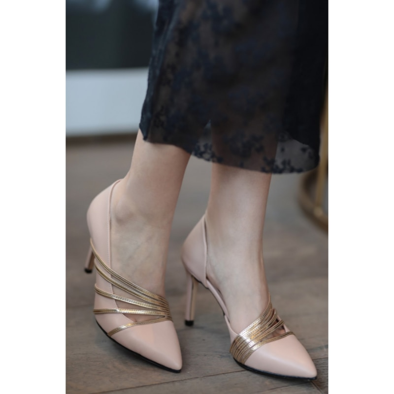 Lily Silver Band negro Stiletto Slip-on puntiagudo dedo del pie verde púrpura tacones altos Sexy mujer vestido zapato