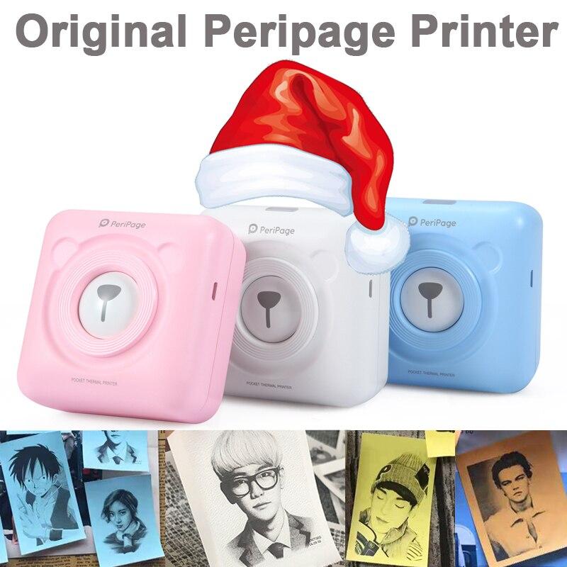 الأصلي Peripage طابعة صور طابعة صور حرارية 203 ديسيبل متوحد الخواص أبيض وردي أزرق اللون