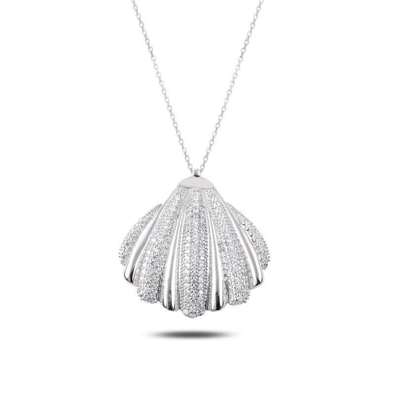 Angemiel 925 collar de concha de mejillón de piedra de circón plateado-rodio plateado