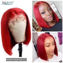 Perruque Bob Lace Front Wig naturelle non-remy, cheveux lisses, coupe courte rouge, 13X4, pre-plucked, couleur rouge, 150%, péruvienne, pour femmes