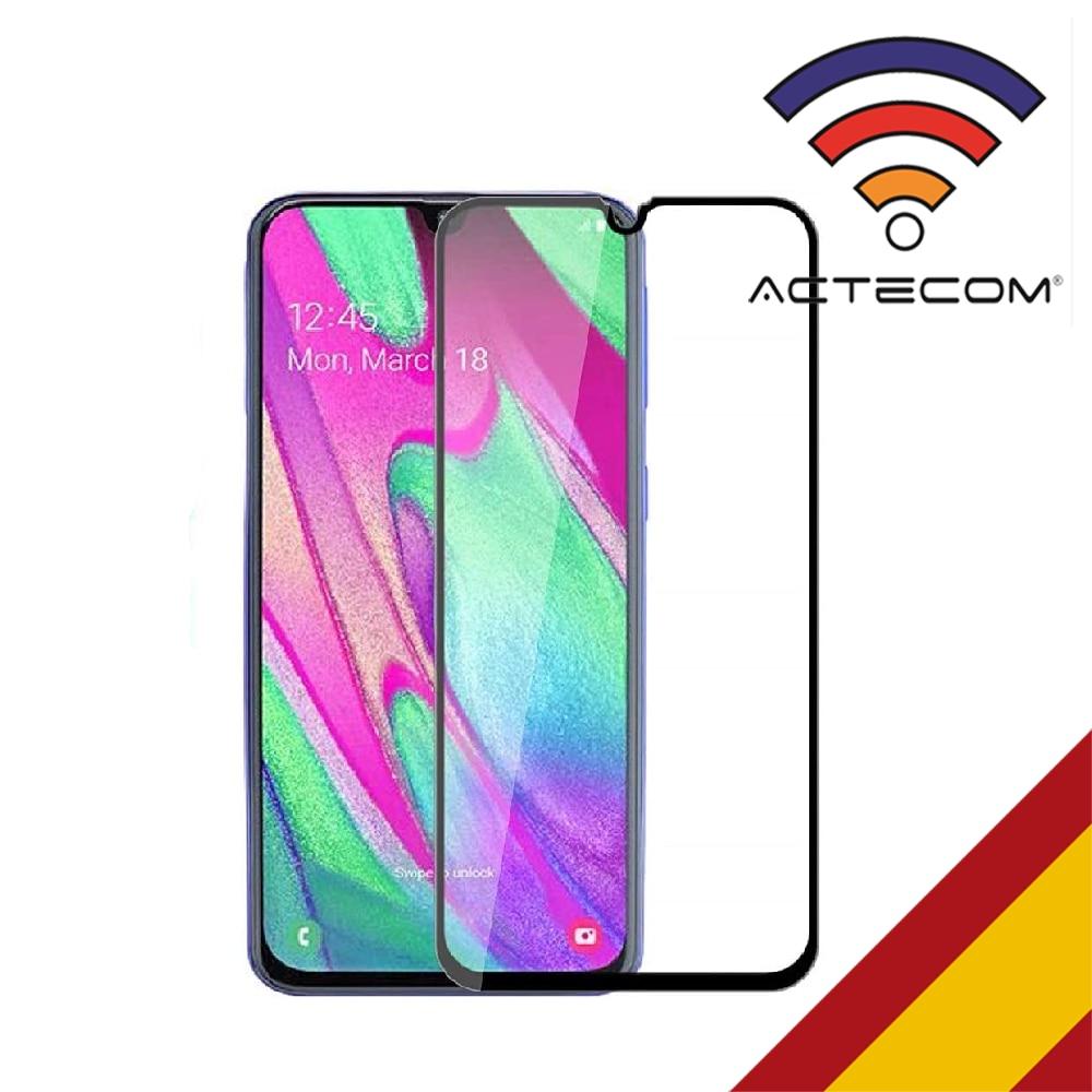 ACTECOM Protector Pantalla para Samsung Galaxy A40 Completo 3D 5D Negro Cristal Templado para Samsung Galaxy A40 Completo