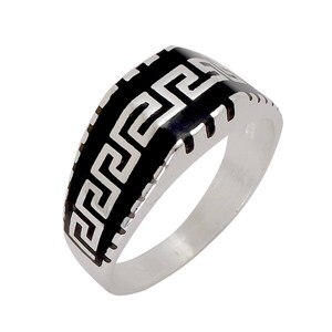 Greek Style Handmade Ring 925 Sterling Silver Old Fashioned Model Style Special Gift for Men & Women Made In Turkey