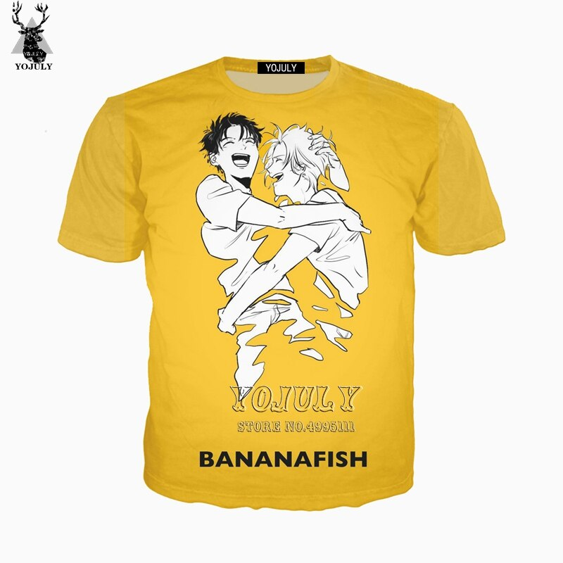 YOJULY 3D Print Women Men Japan Anime Banana Fish Ash EIJI Casual Harajuku T-shirt Summer Tshirt Hip Hop Tops A749