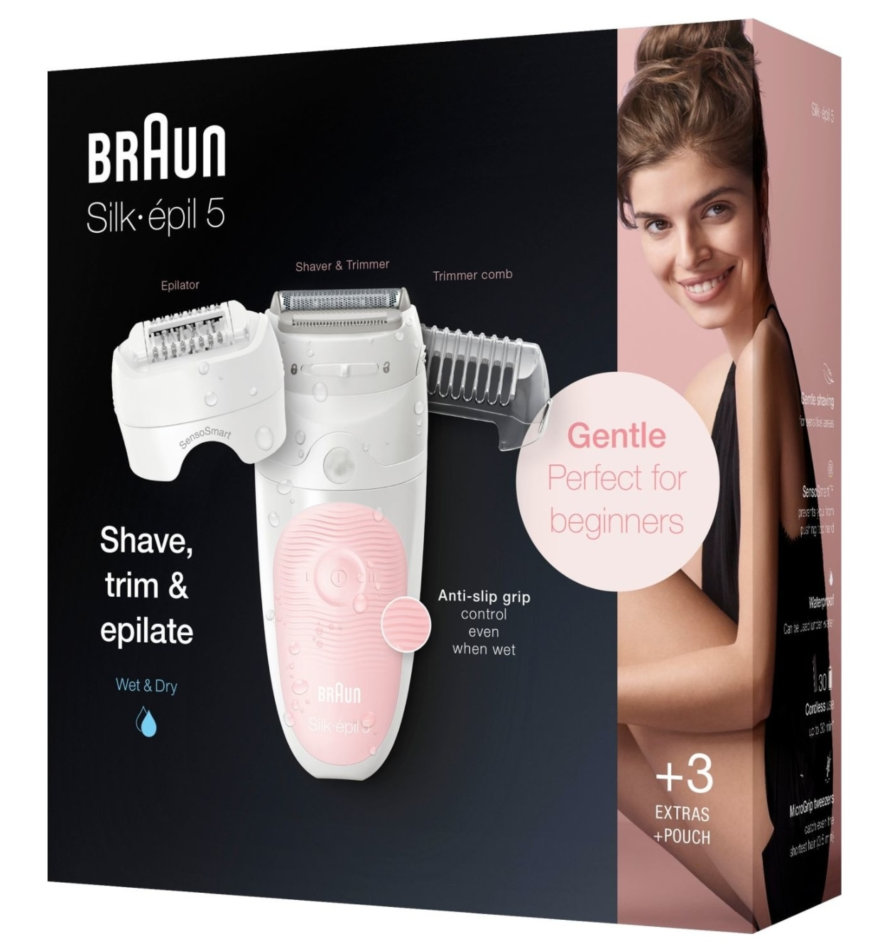 Braun Silk-epil 5 5620 Epilator Women's Wet & Dry Hair Removal Painless Thread Machine, Shaver, Trimmer, Cordless, Rechargeable enlarge