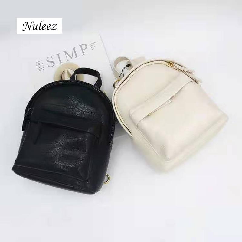 Nuleez-حقيبة ظهر من جلد التمساح الأصلي للنساء ، حقيبة متعددة الأغراض ، عصرية ، شعبية ، مطابقة ، باللونين الأسود والأبيض