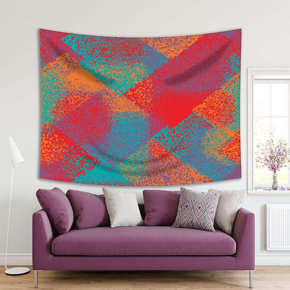Tapiz Grunge patrón caótico de salpicaduras y manchas de pintura Shabby efecto Camuflaje Urbano Arte colorido turquesa naranja púrpura