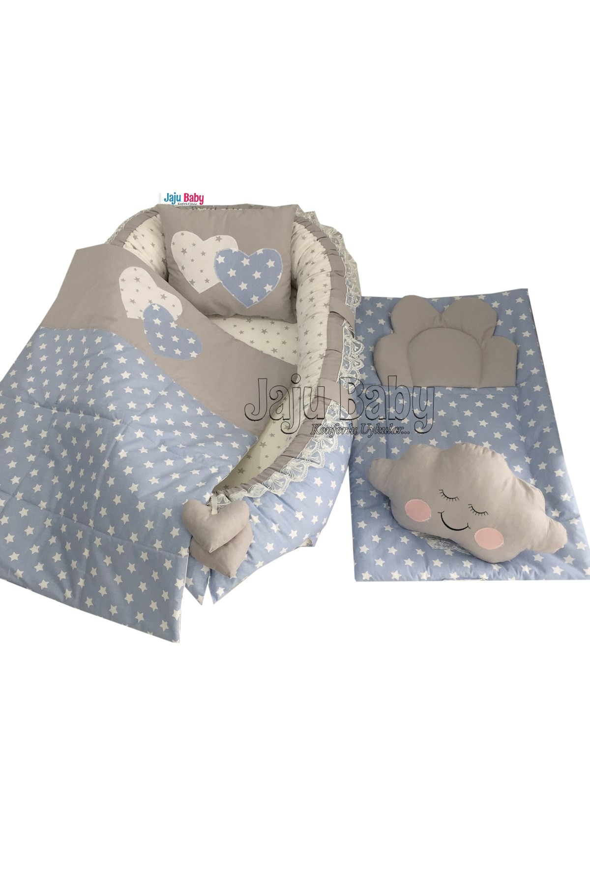 Jaju Baby Handmade, Gray and Blue Star Design Baby with Changing Mat Luxury Orthopedic Babynest Set of 5 Mother Side Baby Bed