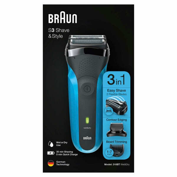Braun Electric Razor for Men / Electric Shaver, Series 3 310BT Blue Rechargeable, Wet & Dry, Series 3 300BT Dry enlarge