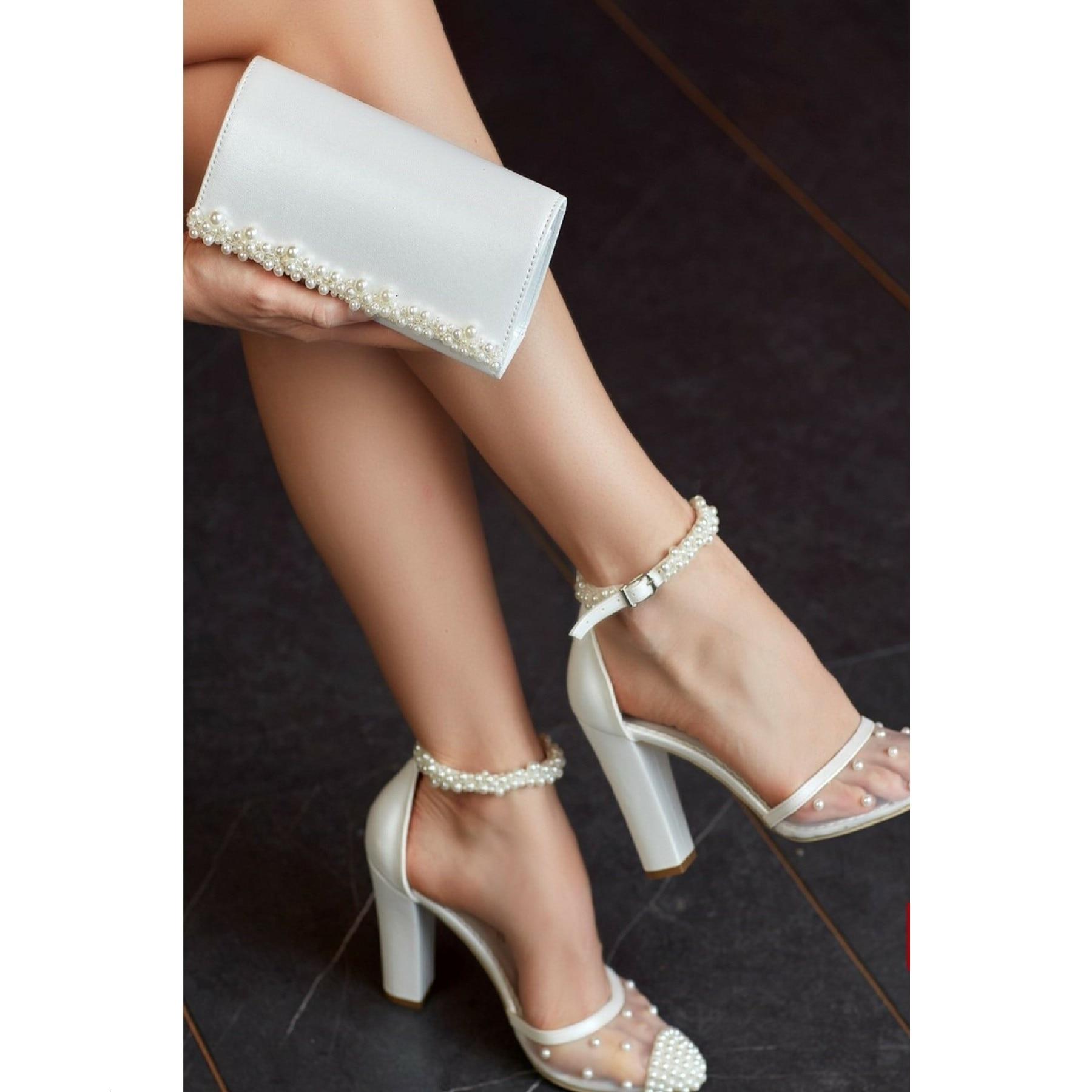 Women's High-Heeled Shoes Bag Set Party Invitation Wedding Dress Shoes Gift Bag-00