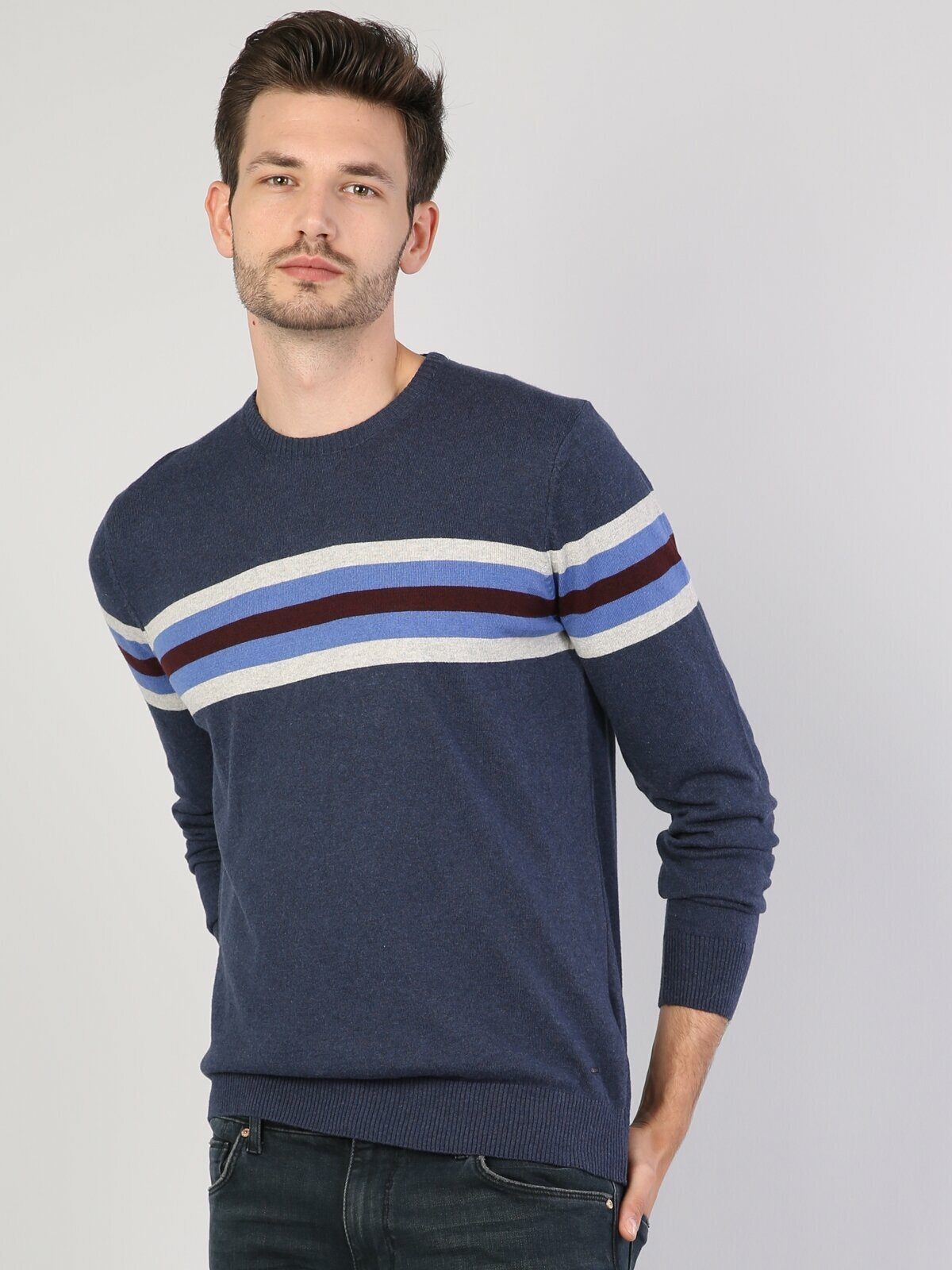 Colins Men Regular Fit Navy Heather SweatersMen's sweater fashion sweater outerwear,CL1040622