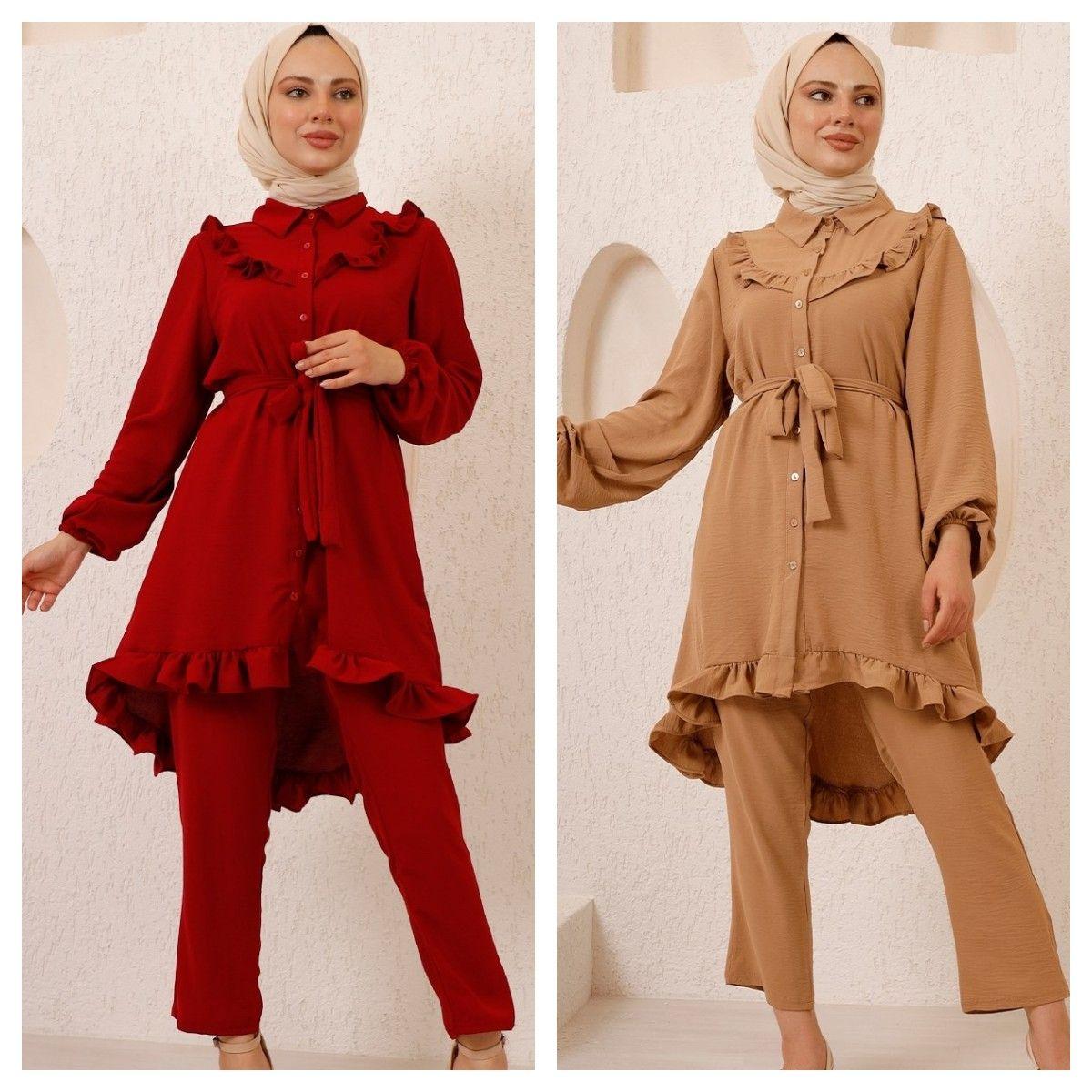 2 قطعة طقم حريمي مريح ، ماكسي تونيك وبنطلون بدلة مزدوجة للشتاء موضة إسلامية ملابس مسلمة تركيا دبي 2021