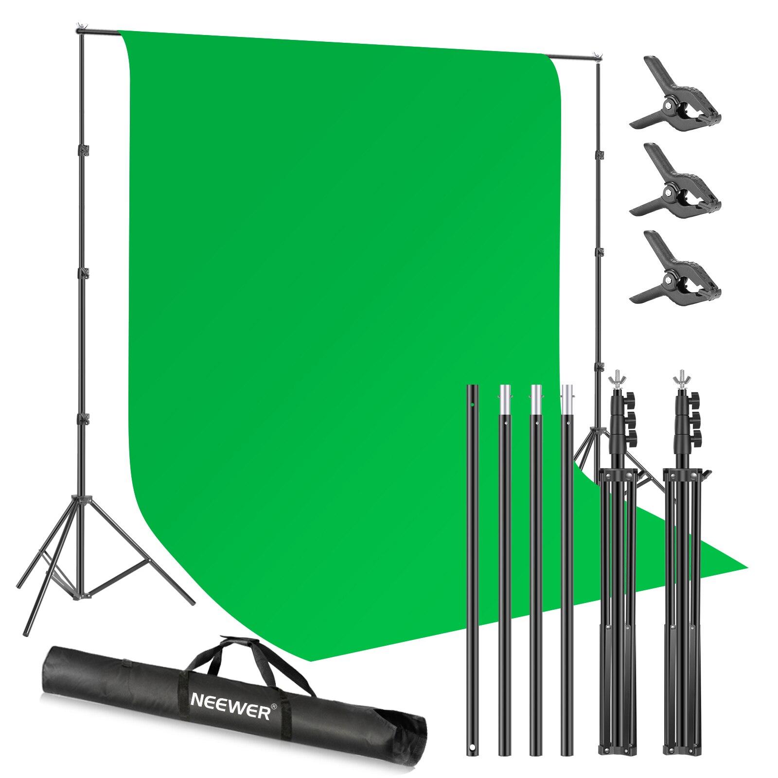 Neewer-خلفية استوديو خضراء ، ونظام دعم خلفية للتصوير الفوتوغرافي مع خلفية خضراء كروماكي و 3 مشابك خلفية