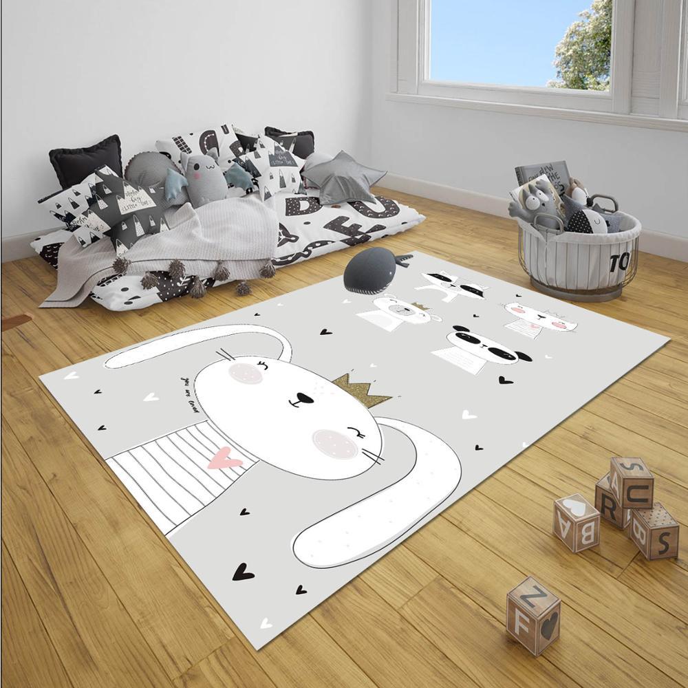 Else Gray Black White Rabbit Animals Jungle Boy 3d Print Anti Slip Microfiber Children Baby Kids Room Decorative Area Rug Mat