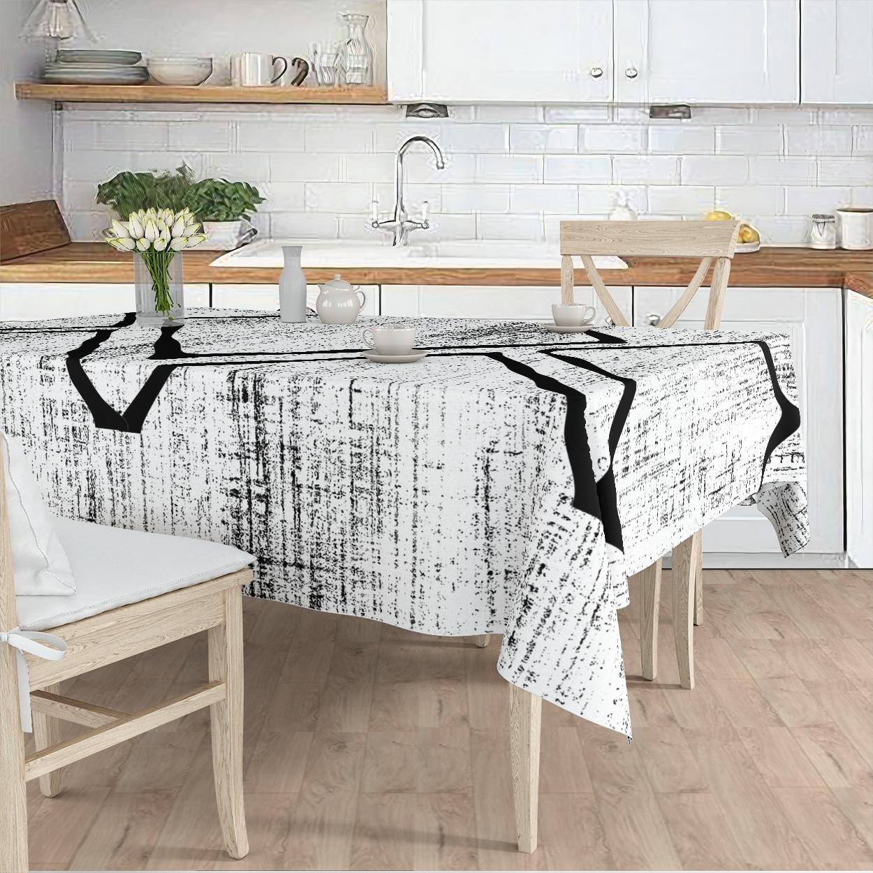 مفرش المائدة غرفة المعيشة المطبخ رمادي خط أسود منقوشة مايكرو غطاء من القماش عداء نمط شحن مجاني