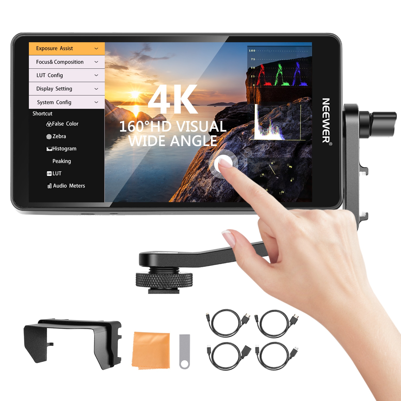 Neewer FW600 5.5 بوصة شاشة تعمل باللمس كاميرا جهاز المراقبة الميدانية كامل HD 1920x1080 ، 4K تيار مستمر في/الموجي الناتج/نطاق ناقلات/3D-LUT